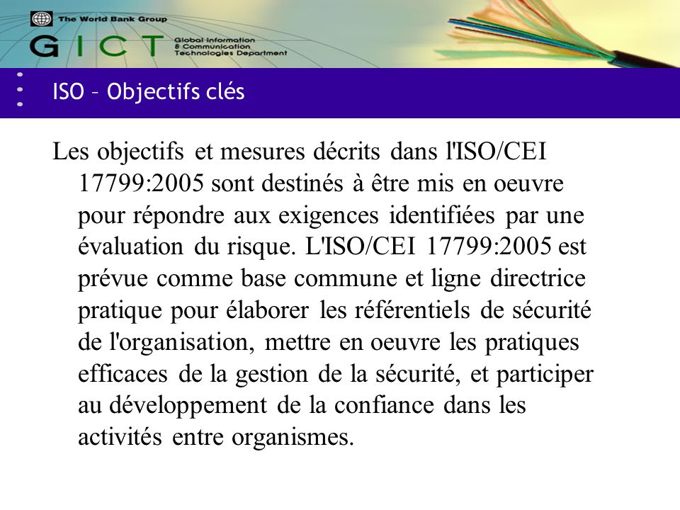 ISO – Objectifs clés