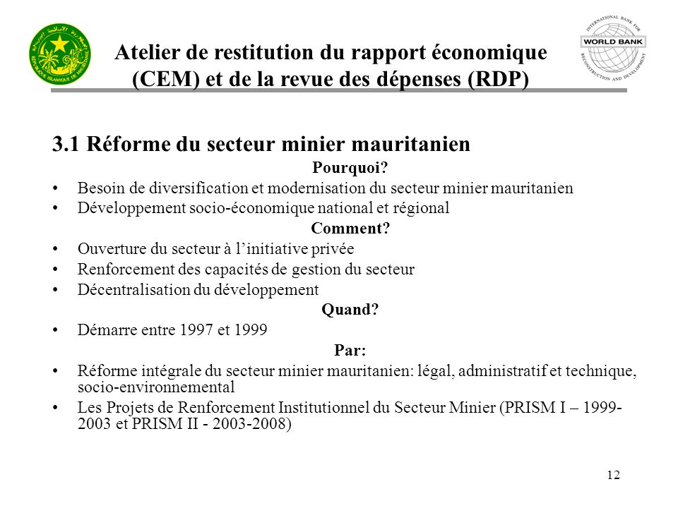 3.1 Réforme du secteur minier mauritanien