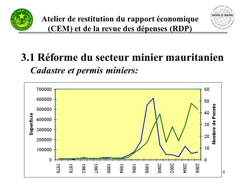 3.1 Réforme du secteur minier mauritanien Cadastre et permis miniers: