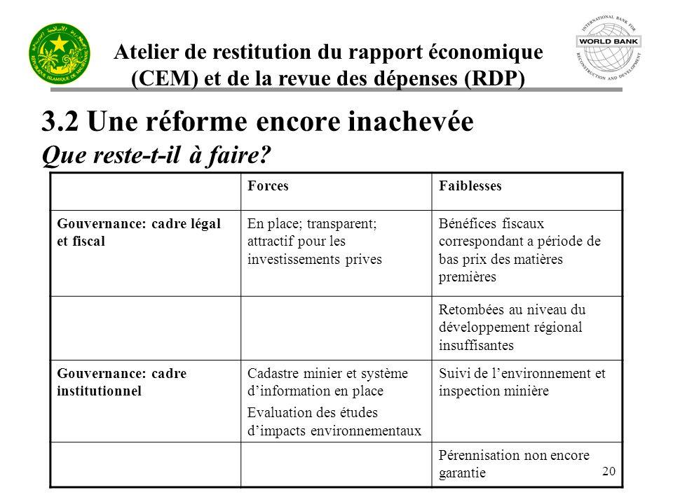 3.2 Une réforme encore inachevée Que reste-t-il à faire