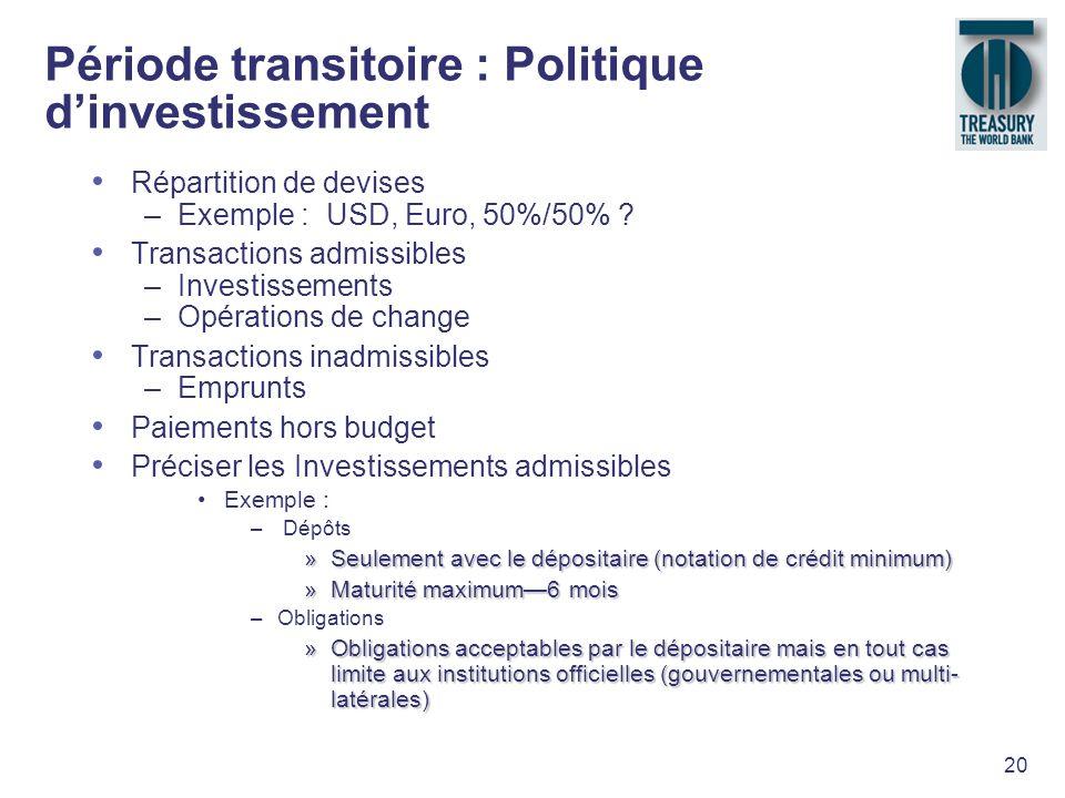 Période transitoire : Politique d'investissement