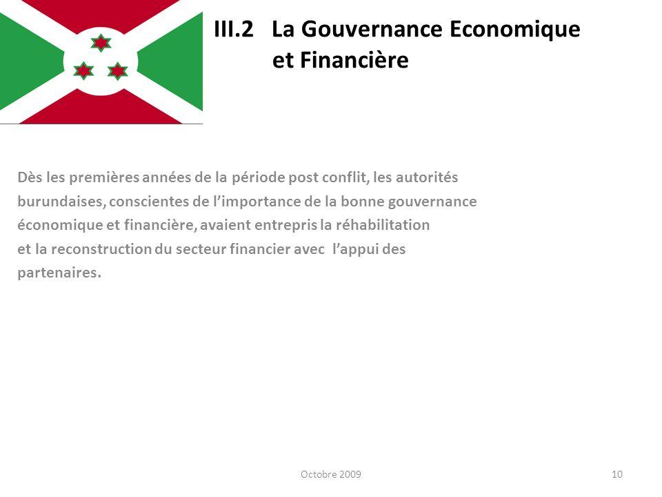 III.2 La Gouvernance Economique et Financière