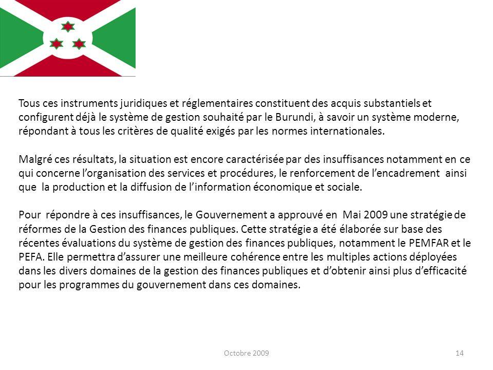 Tous ces instruments juridiques et réglementaires constituent des acquis substantiels et configurent déjà le système de gestion souhaité par le Burundi, à savoir un système moderne, répondant à tous les critères de qualité exigés par les normes internationales.