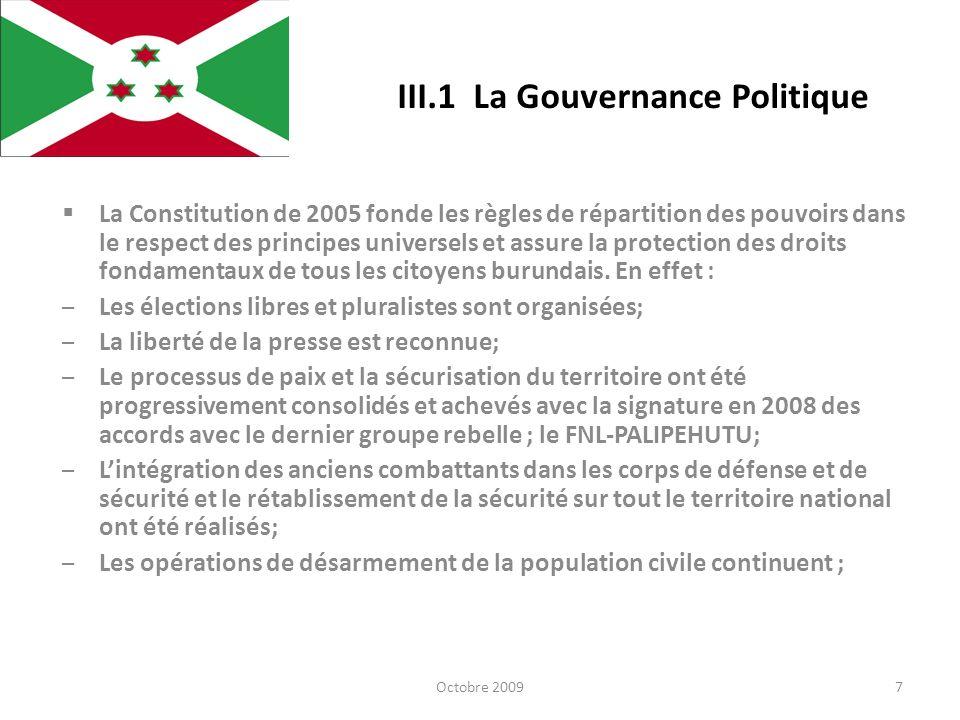 III.1 La Gouvernance Politique