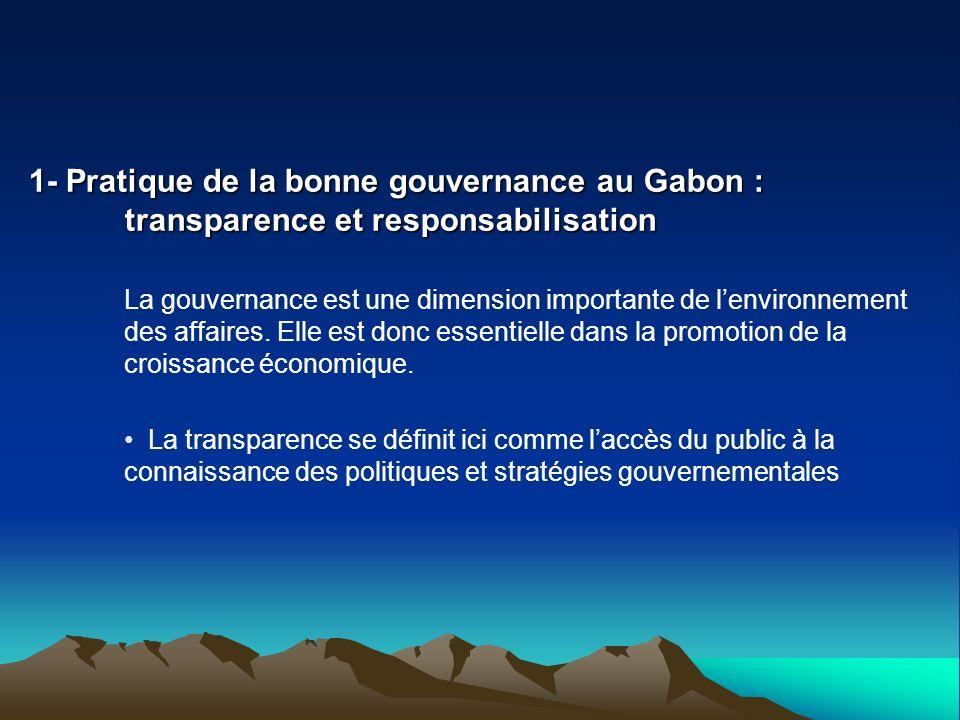 1- Pratique de la bonne gouvernance au Gabon :