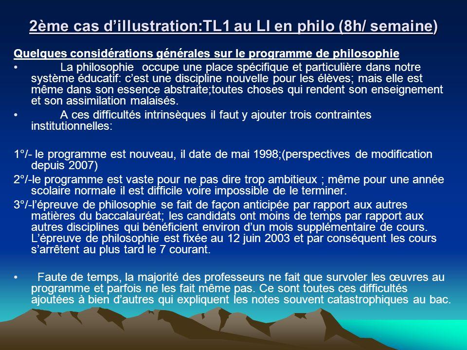 2ème cas d'illustration:TL1 au LI en philo (8h/ semaine)