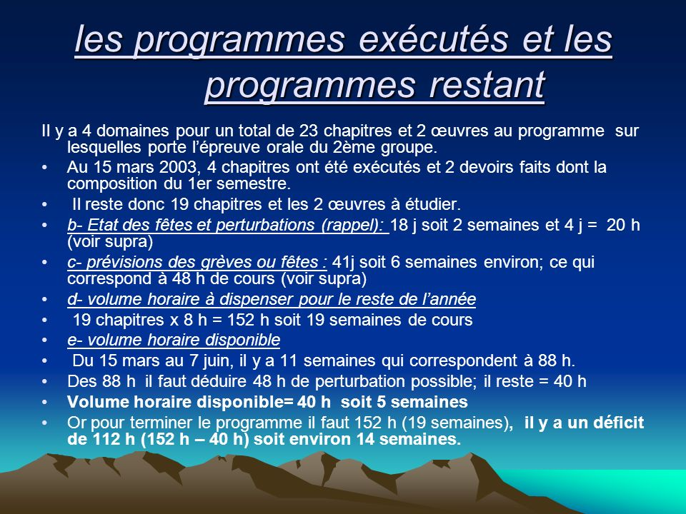 les programmes exécutés et les programmes restant