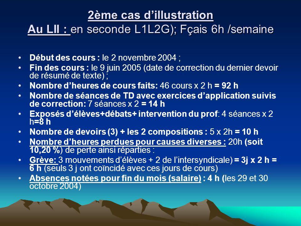 2ème cas d'illustration Au LII : en seconde L1L2G); Fçais 6h /semaine