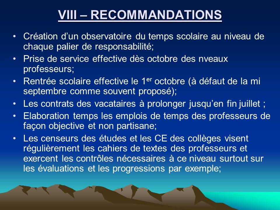 VIII – RECOMMANDATIONS