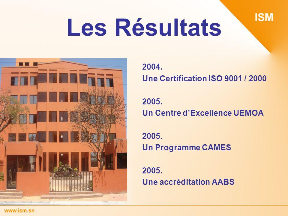 Les Résultats 2004. Une Certification ISO 9001 / 2000 2005.