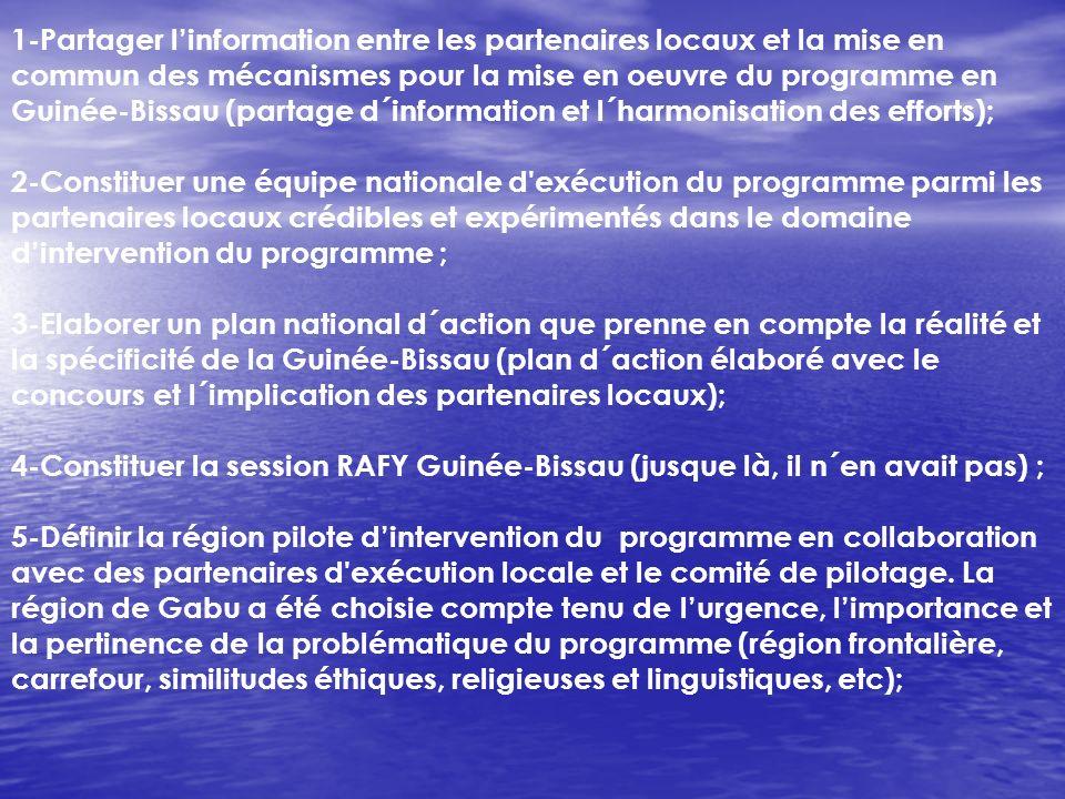 1-Partager l'information entre les partenaires locaux et la mise en commun des mécanismes pour la mise en oeuvre du programme en Guinée-Bissau (partage d´information et l´harmonisation des efforts);