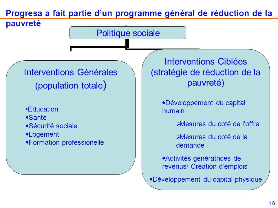 Progresa a fait partie d'un programme général de réduction de la pauvreté