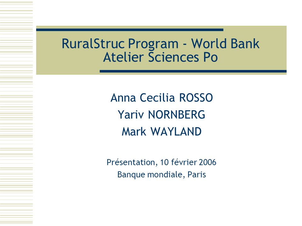 RuralStruc Program - World Bank Atelier Sciences Po