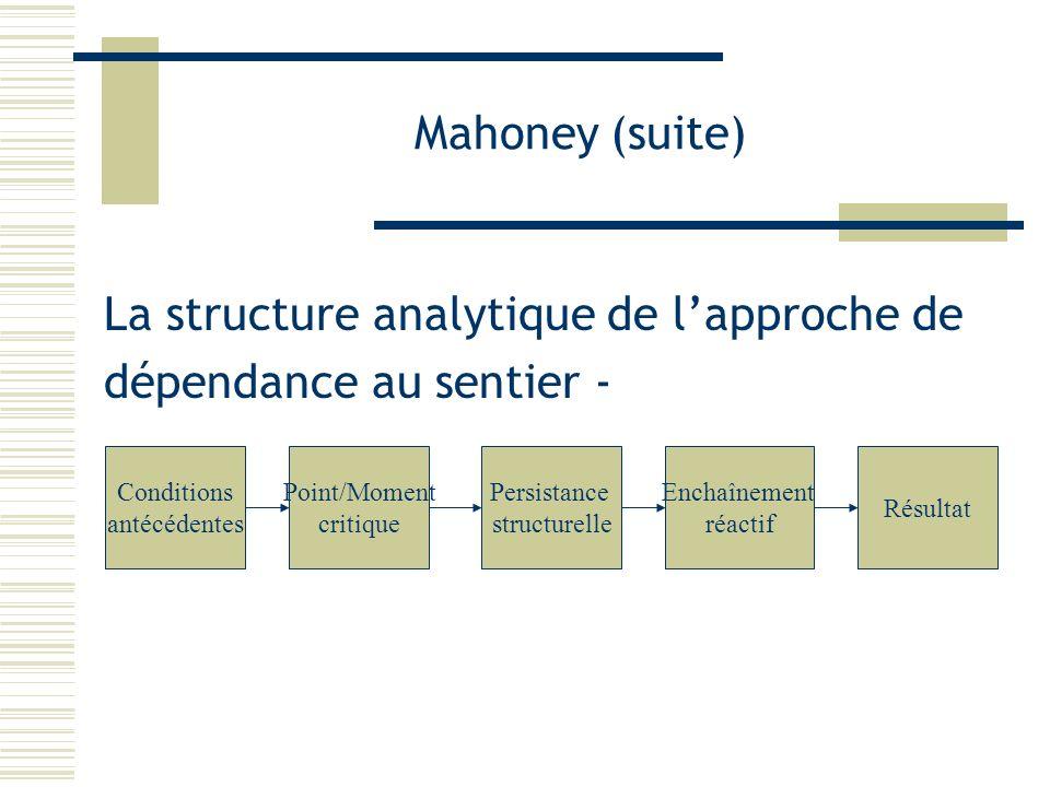 La structure analytique de l'approche de dépendance au sentier -