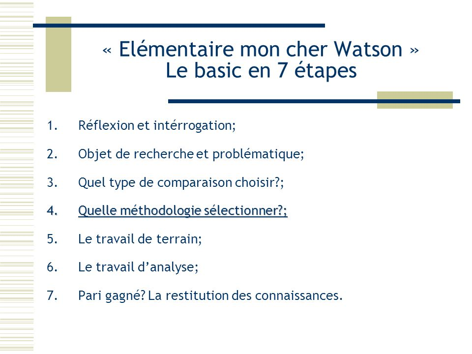 « Elémentaire mon cher Watson » Le basic en 7 étapes