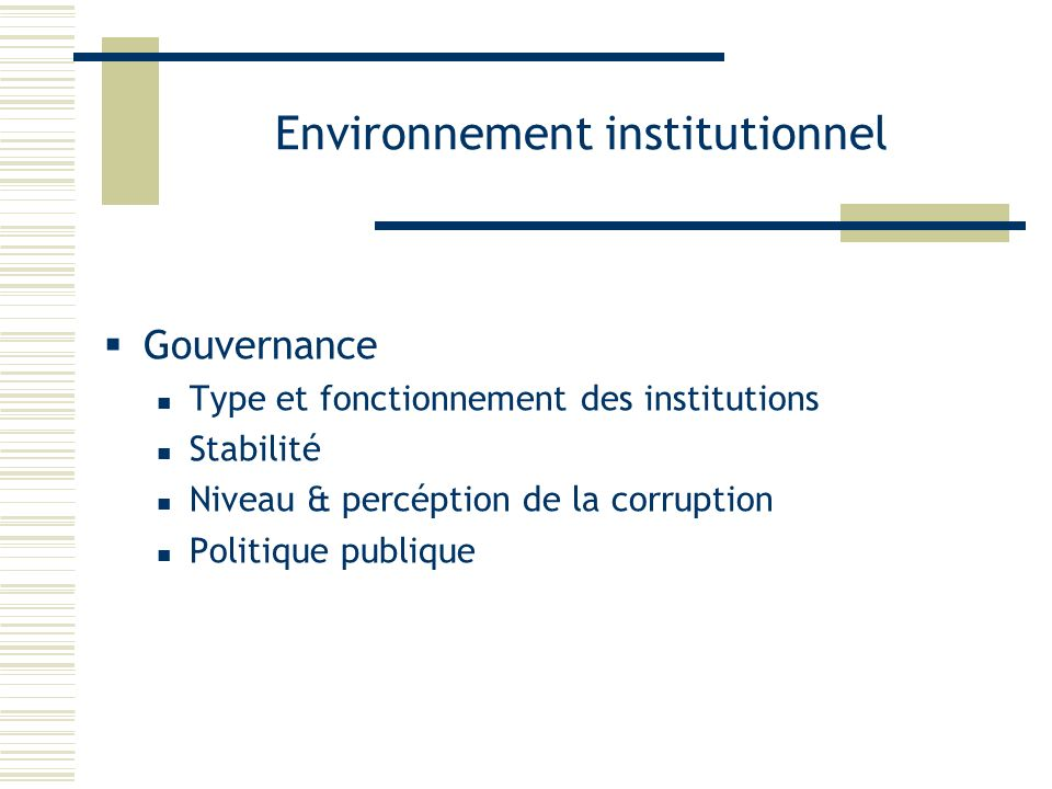 Environnement institutionnel