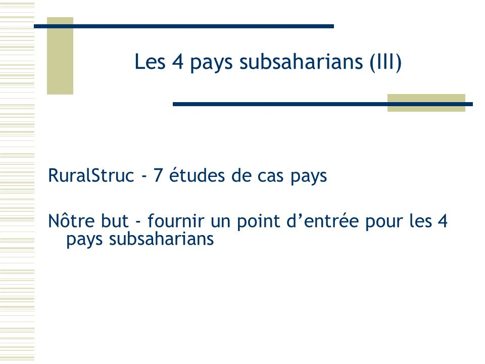 Les 4 pays subsaharians (III)
