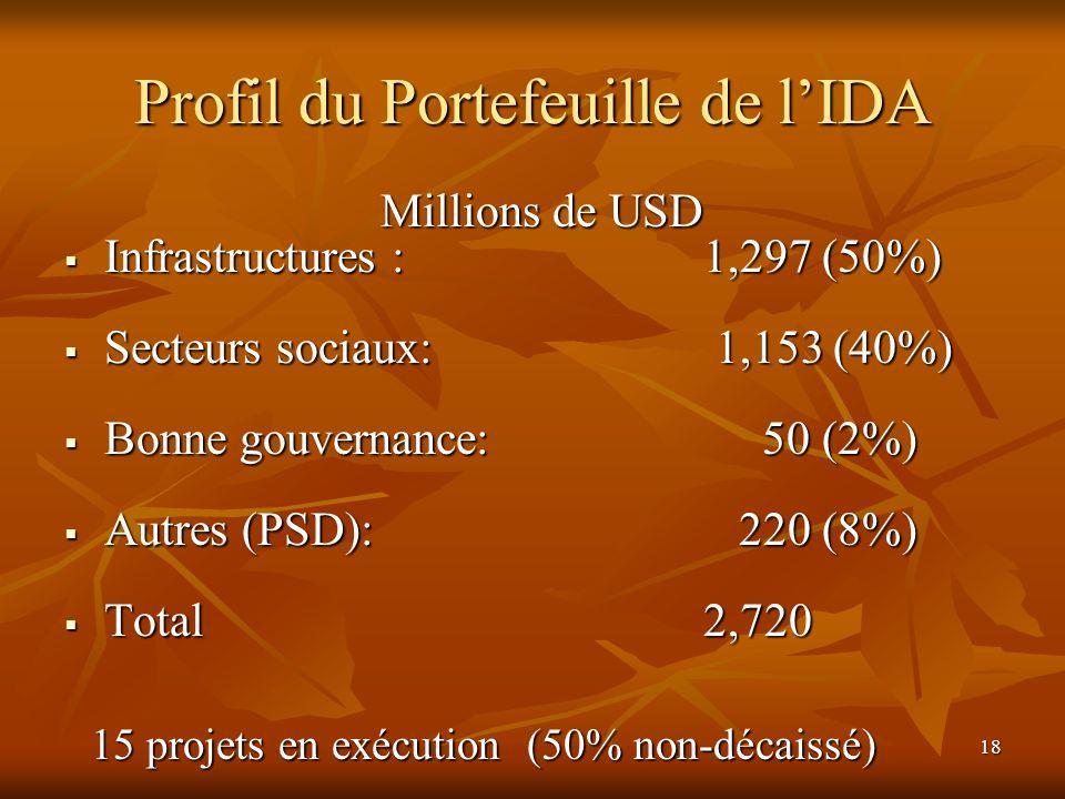 Profil du Portefeuille de l'IDA