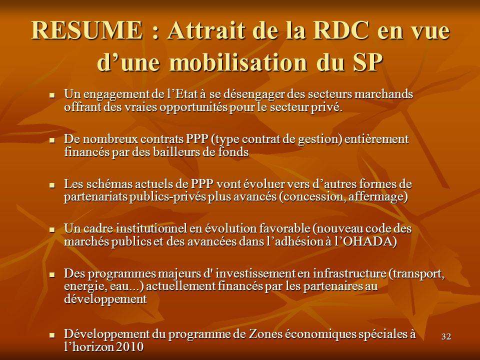 RESUME : Attrait de la RDC en vue d'une mobilisation du SP