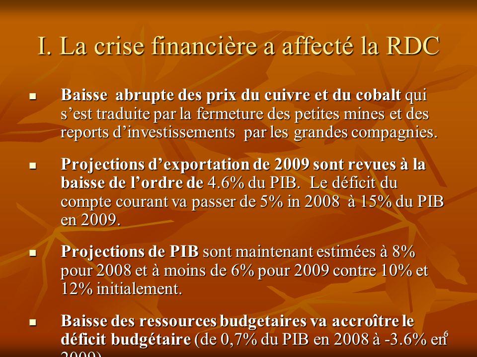 I. La crise financière a affecté la RDC