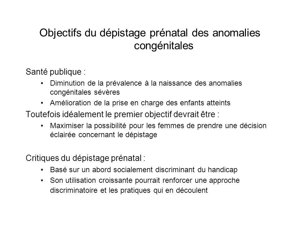 Objectifs du dépistage prénatal des anomalies congénitales