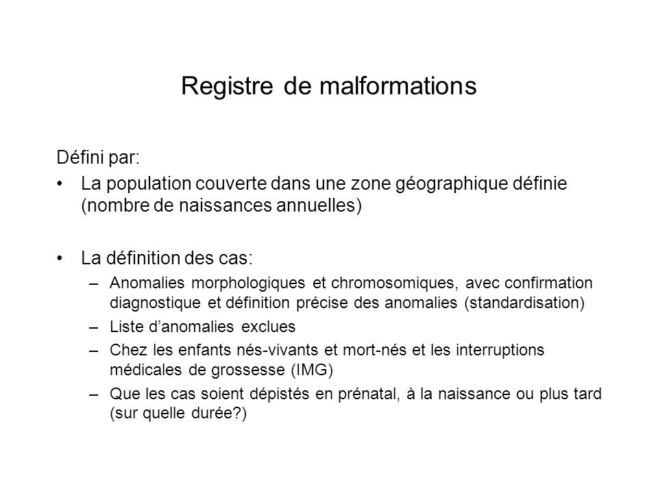 Registre de malformations