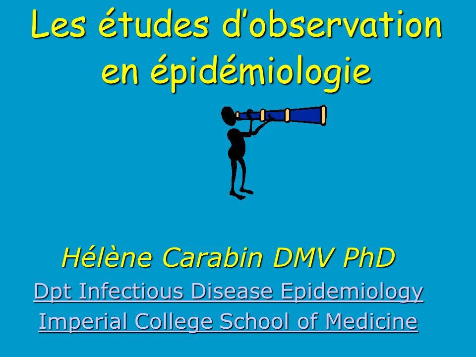 Les études d'observation en épidémiologie