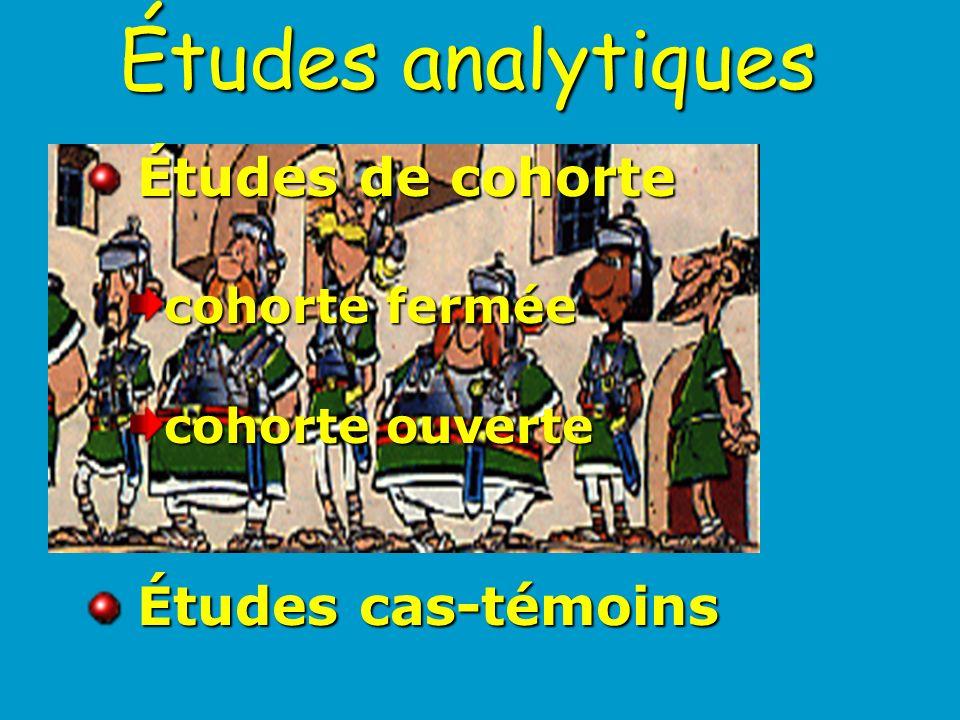 Études analytiques Études de cohorte Études cas-témoins cohorte fermée