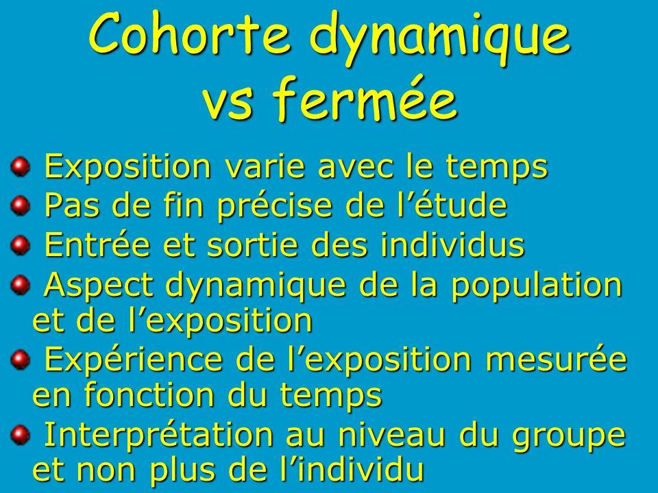 Cohorte dynamique vs fermée