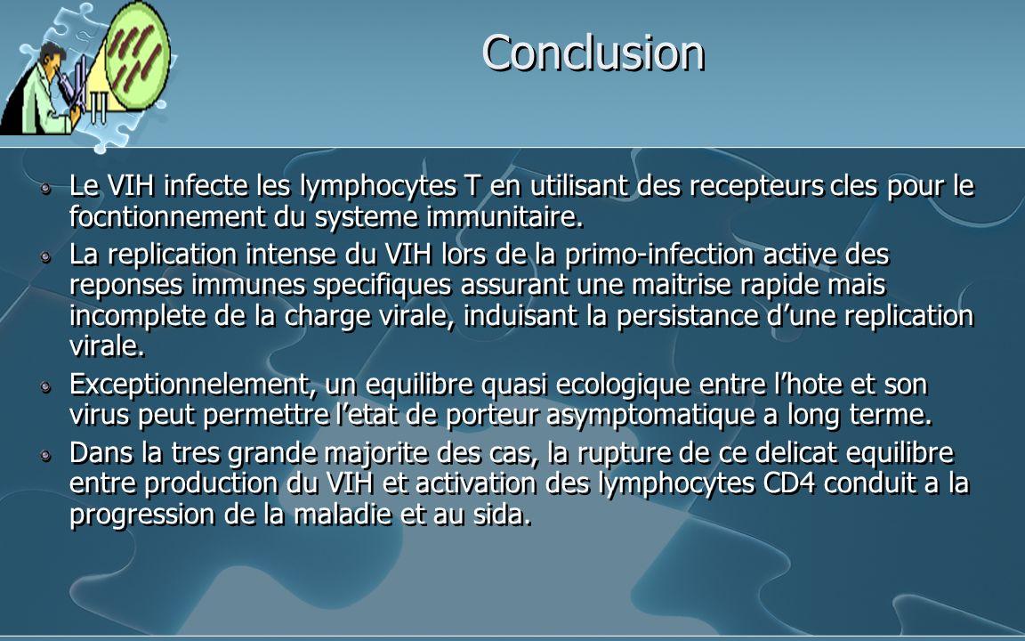 Conclusion Le VIH infecte les lymphocytes T en utilisant des recepteurs cles pour le focntionnement du systeme immunitaire.