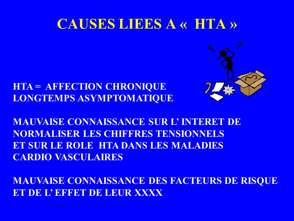 CAUSES LIEES A « HTA » HTA = AFFECTION CHRONIQUE