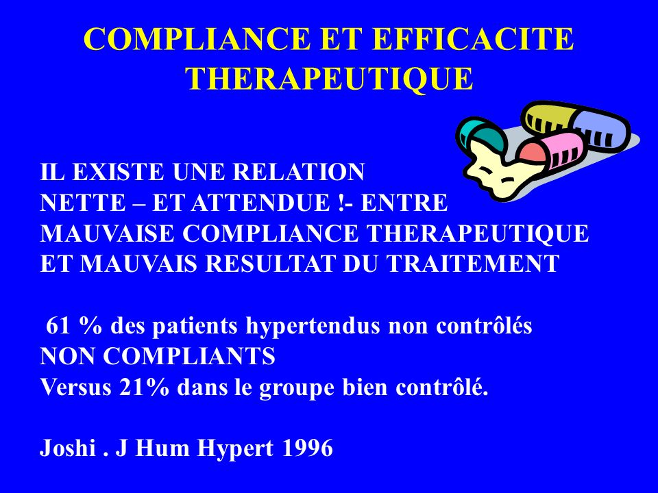 COMPLIANCE ET EFFICACITE THERAPEUTIQUE