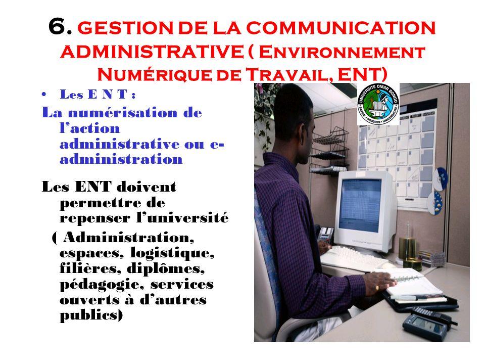 6. GESTION DE LA COMMUNICATION ADMINISTRATIVE ( Environnement Numérique de Travail, ENT)
