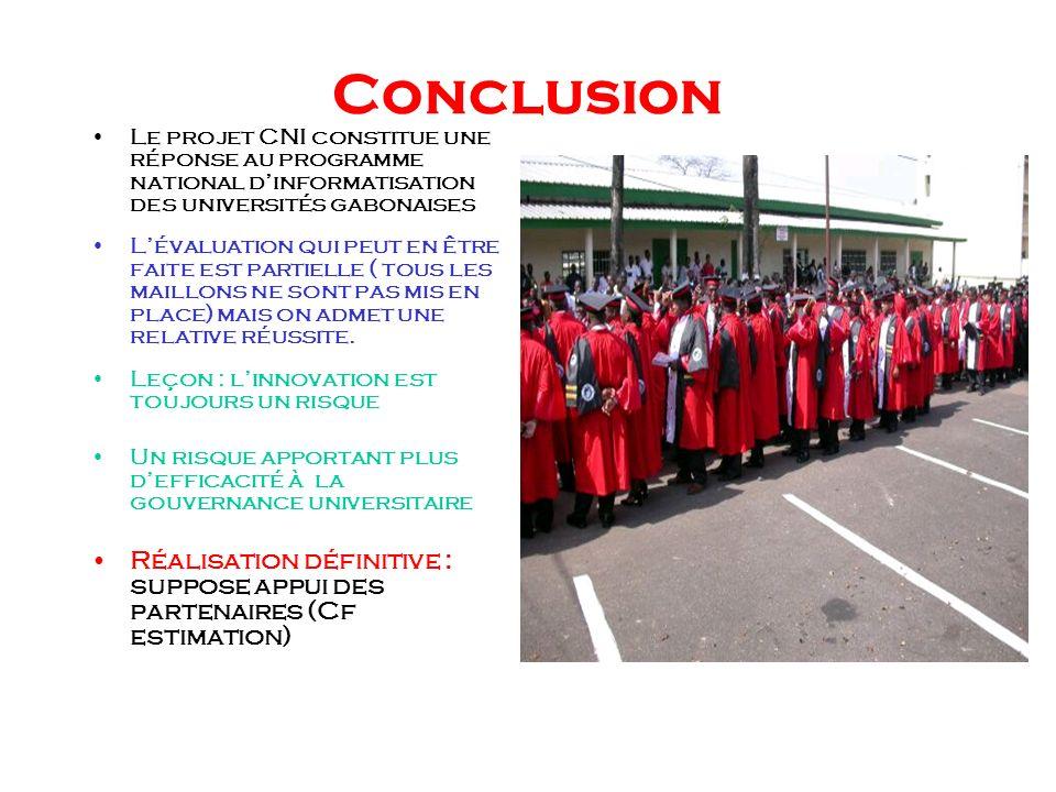 Conclusion Le projet CNI constitue une réponse au programme national d'informatisation des universités gabonaises.