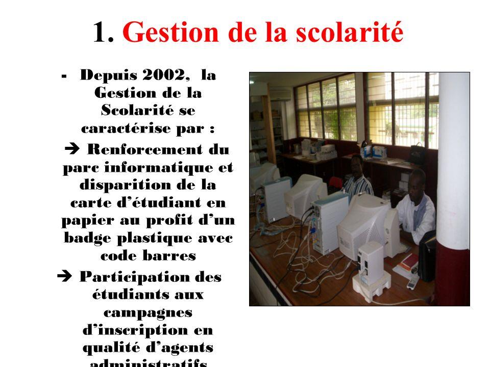 Depuis 2002, la Gestion de la Scolarité se caractérise par :