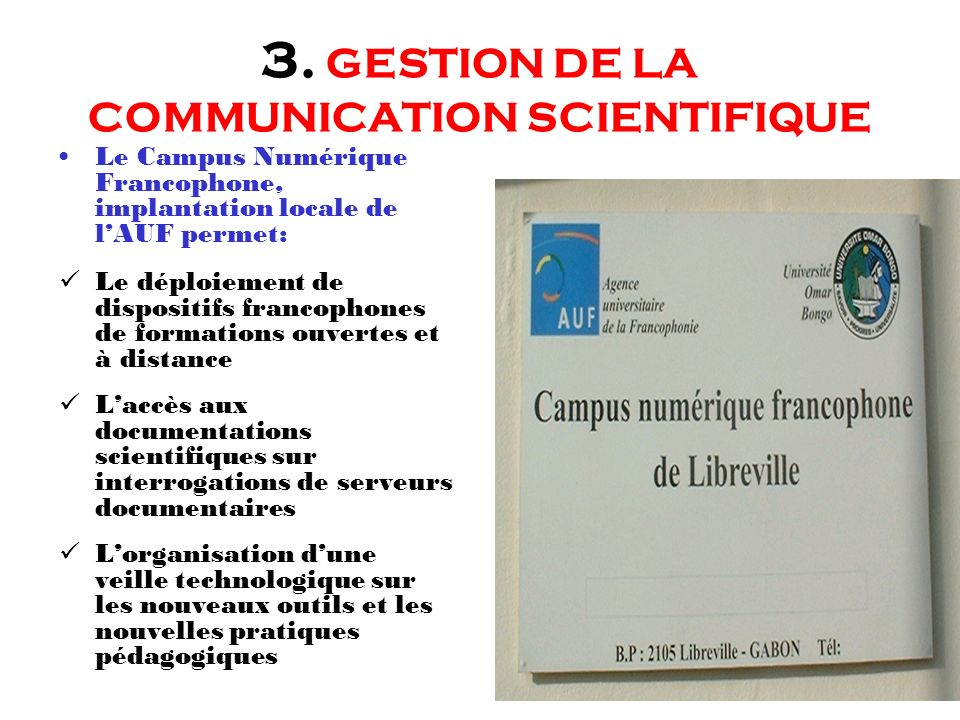 3. GESTION DE LA COMMUNICATION SCIENTIFIQUE