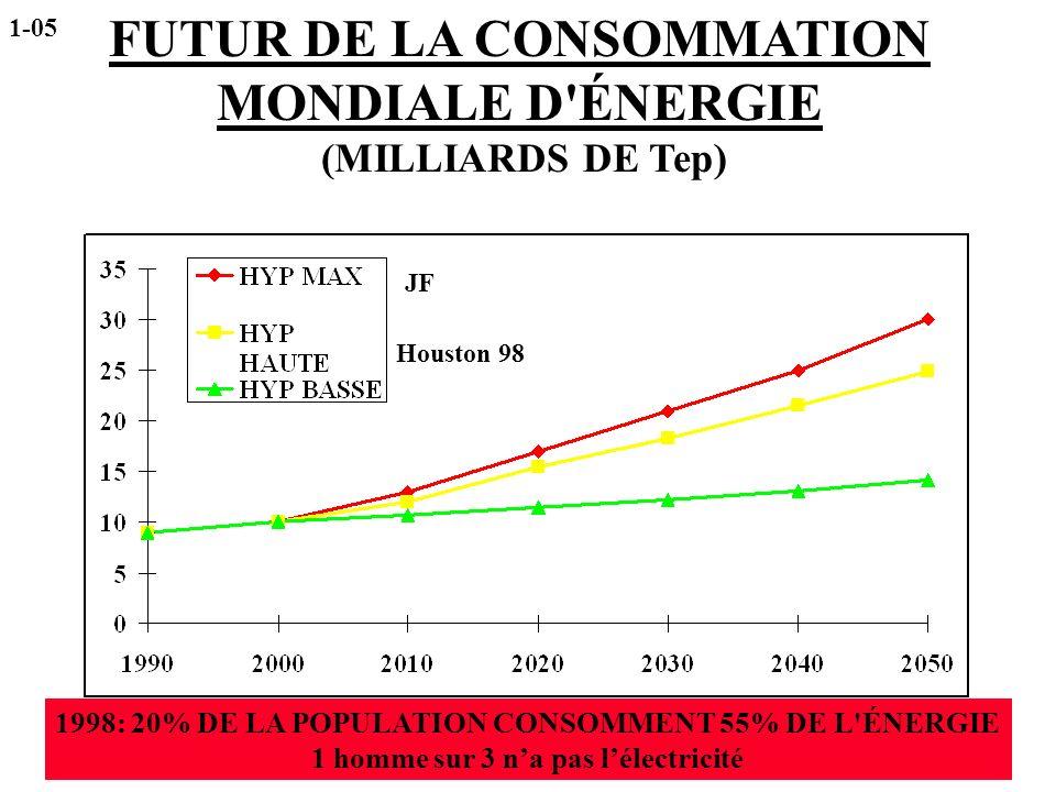 FUTUR DE LA CONSOMMATION MONDIALE D ÉNERGIE (MILLIARDS DE Tep)