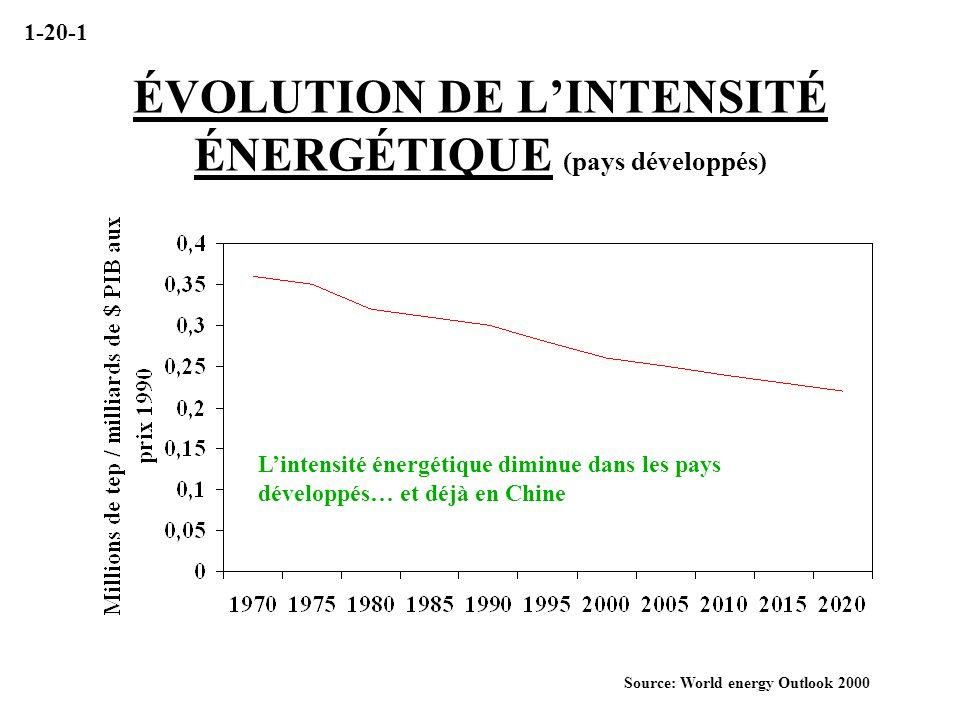 ÉVOLUTION DE L'INTENSITÉ ÉNERGÉTIQUE (pays développés)