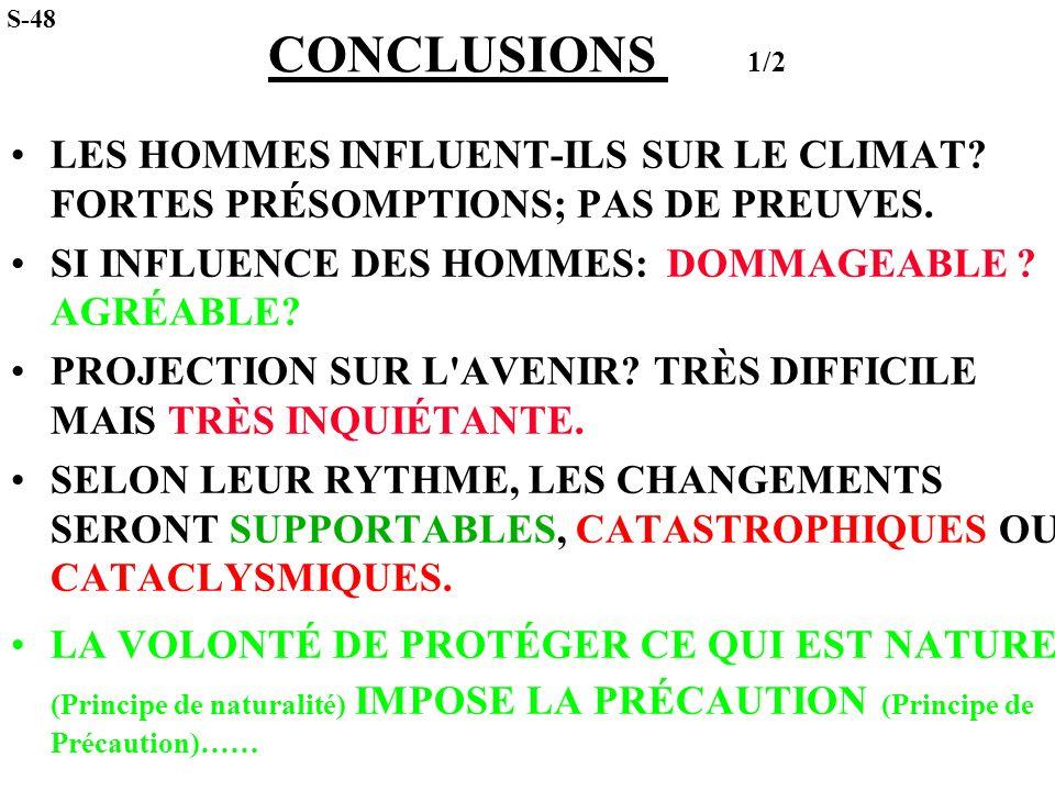 S-48 CONCLUSIONS 1/2. LES HOMMES INFLUENT-ILS SUR LE CLIMAT FORTES PRÉSOMPTIONS; PAS DE PREUVES.