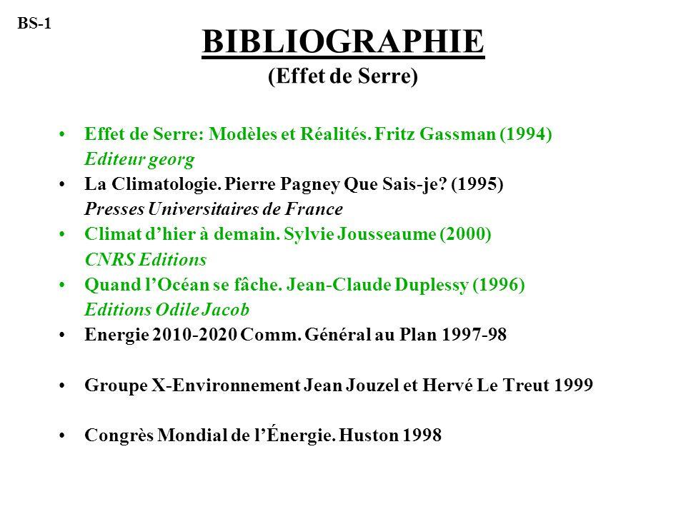 BIBLIOGRAPHIE (Effet de Serre)