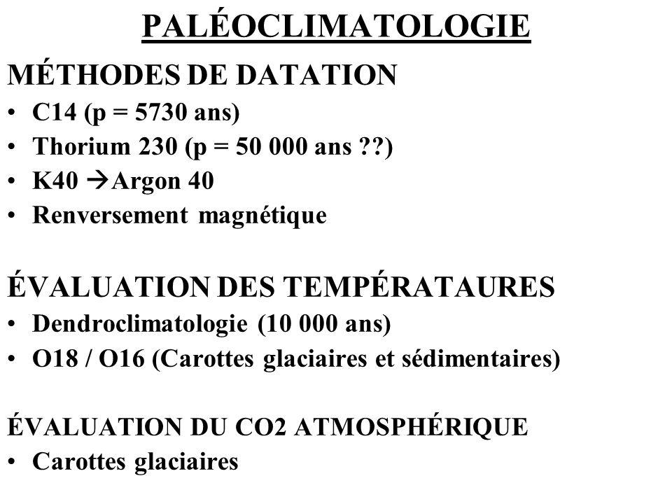 PALÉOCLIMATOLOGIE MÉTHODES DE DATATION ÉVALUATION DES TEMPÉRATAURES