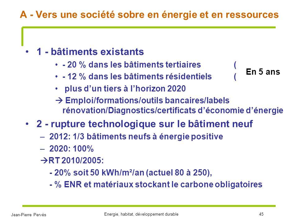 A - Vers une société sobre en énergie et en ressources