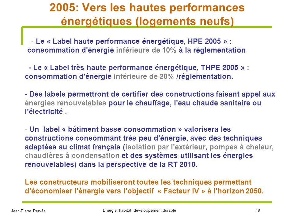 2005: Vers les hautes performances énergétiques (logements neufs)