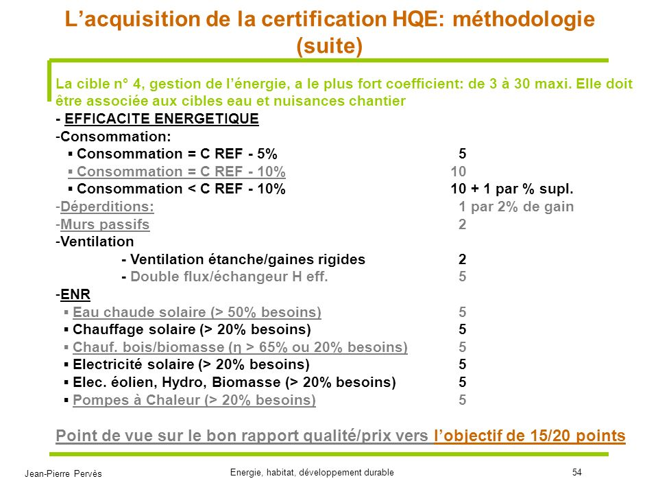 L'acquisition de la certification HQE: méthodologie (suite)