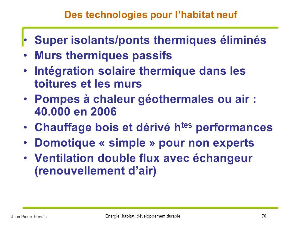 Des technologies pour l'habitat neuf