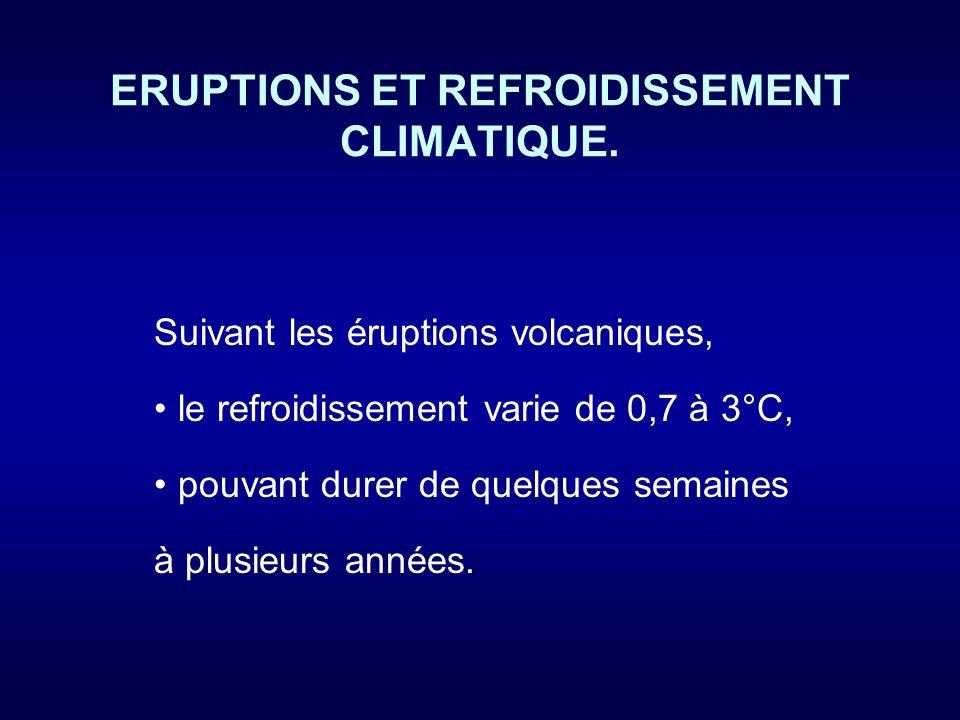 ERUPTIONS ET REFROIDISSEMENT CLIMATIQUE.