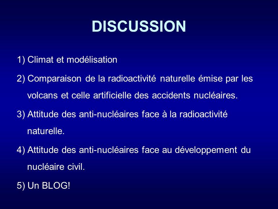DISCUSSION 1) Climat et modélisation