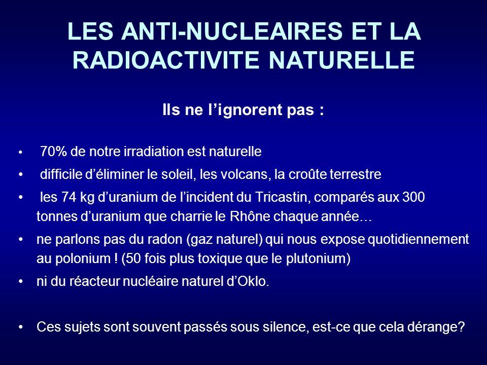 LES ANTI-NUCLEAIRES ET LA RADIOACTIVITE NATURELLE