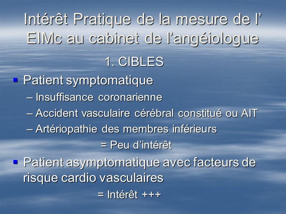 Intérêt Pratique de la mesure de l' EIMc au cabinet de l'angéiologue