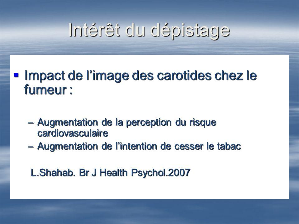 Intérêt du dépistage Impact de l'image des carotides chez le fumeur :